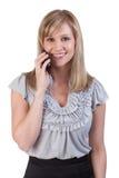 Femme heureuse au téléphone Photographie stock