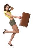 Femme heureuse avec la valise Photographie stock libre de droits