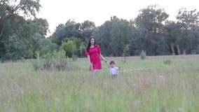 Femme heureuse avec le bébé un jour ensoleillé d'été La famille marche par le pré clips vidéos