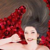 Femme heureuse avec le beaux maquillage et coiffure Images stock