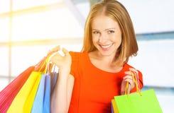 Femme heureuse avec le sac sur des achats dans le mail Photo stock