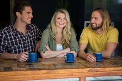 Femme heureuse avec les amis masculins à la table dans le café Photographie stock