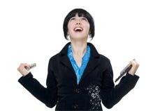Femme heureuse d'affaires Image stock