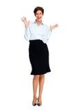 Femme heureuse d'affaires avec la coiffure courte Images stock