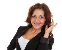 Femme heureuse d'affaires avec le casque. Photo libre de droits