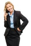 Femme heureuse d'affaires mûres d'isolement sur le fond blanc Photo libre de droits