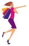 Femme heureuse de achat. illustration libre de droits