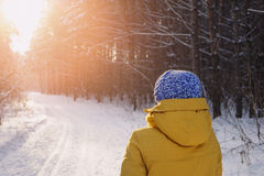 Femme heureuse de beauté rêvant en parc en hiver Photo stock
