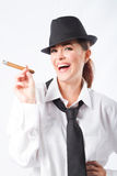 Femme heureuse de cigare Photos libres de droits
