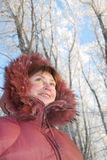 Femme heureuse de l'hiver Photo libre de droits