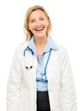 Femme heureuse de médecin d'isolement sur le fond blanc Image libre de droits