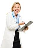 Femme heureuse de médecin d'isolement sur le fond blanc Images stock