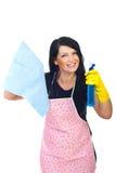 Femme heureuse faisant les travaux domestiques Image libre de droits