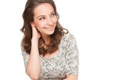 Femme heureuse magnifique de brune image libre de droits