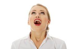 Femme heureuse stupéfaite d'affaires Image libre de droits