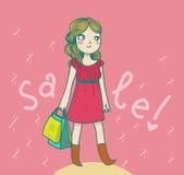 Femme heureux au temps de vente Image stock