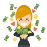 Femme heureux avec de l'argent illustration libre de droits