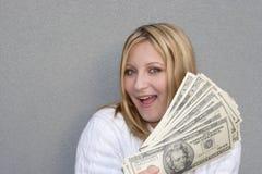 Femme heureux avec de l'argent Image stock