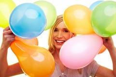 Femme heureux avec des ballons Photo libre de droits