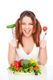 Femme heureux avec des légumes Photos libres de droits