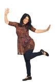 Femme heureux avec des mains augmentées Photos stock