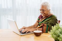 Femme heureux avec l'ordinateur portatif images stock