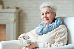 Femme heureux avec la cuvette de thé Images stock