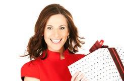 Femme heureux avec le cadre de cadeau photos stock