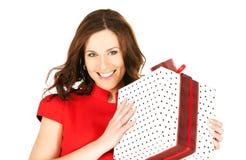 Femme heureux avec le cadre de cadeau images stock