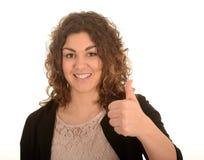 Femme heureux avec le pouce vers le haut Image libre de droits