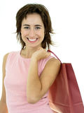 Femme heureux avec le sac à provisions Image libre de droits