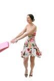 Femme heureux avec le sac à provisions Images libres de droits