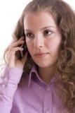 Femme heureux avec le téléphone portable Photos stock