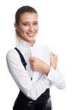 Femme heureux d'affaires avec des documents photographie stock libre de droits