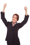 Femme heureux d'affaires avec des pouces vers le haut photo stock