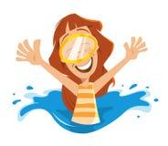 Femme heureux dans la piscine illustration de vecteur