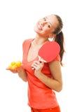 Femme heureux - joueur de ping-pong Photographie stock libre de droits