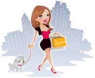 Femme heureux sur des achats illustration stock