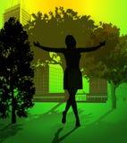 Femme heureux sur un environnement propre Photographie stock libre de droits