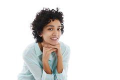 Femme hispanique heureuse d'affaires souriant à l'appareil-photo Photographie stock libre de droits