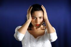 Femme hispanique sérieuse Image libre de droits