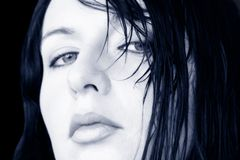 Femme humide de cheveu Photo libre de droits