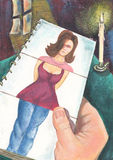 Femme idéal parfait de datte rêveuse photos libres de droits
