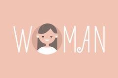 Femme illustrée féminine de signe Un portrait de fille de brune illustration de vecteur