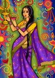 Femme indienne avec la décoration de diya pour la célébration de festival de Diwali dans l'Inde illustration libre de droits