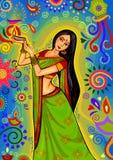 Femme indienne avec la décoration de diya pour la célébration de festival de Diwali dans l'Inde illustration de vecteur