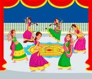 Femme indienne Dandiya de exécution illustration de vecteur