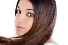 Femme indienne de brunette asiatique avec le long plan rapproché de cheveu Image libre de droits