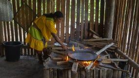 Femme indigène Siona à l'intérieur de sa maison allumant le feu dans sa cuisine photographie stock