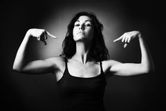 Femme intense - entraîneur. Images stock